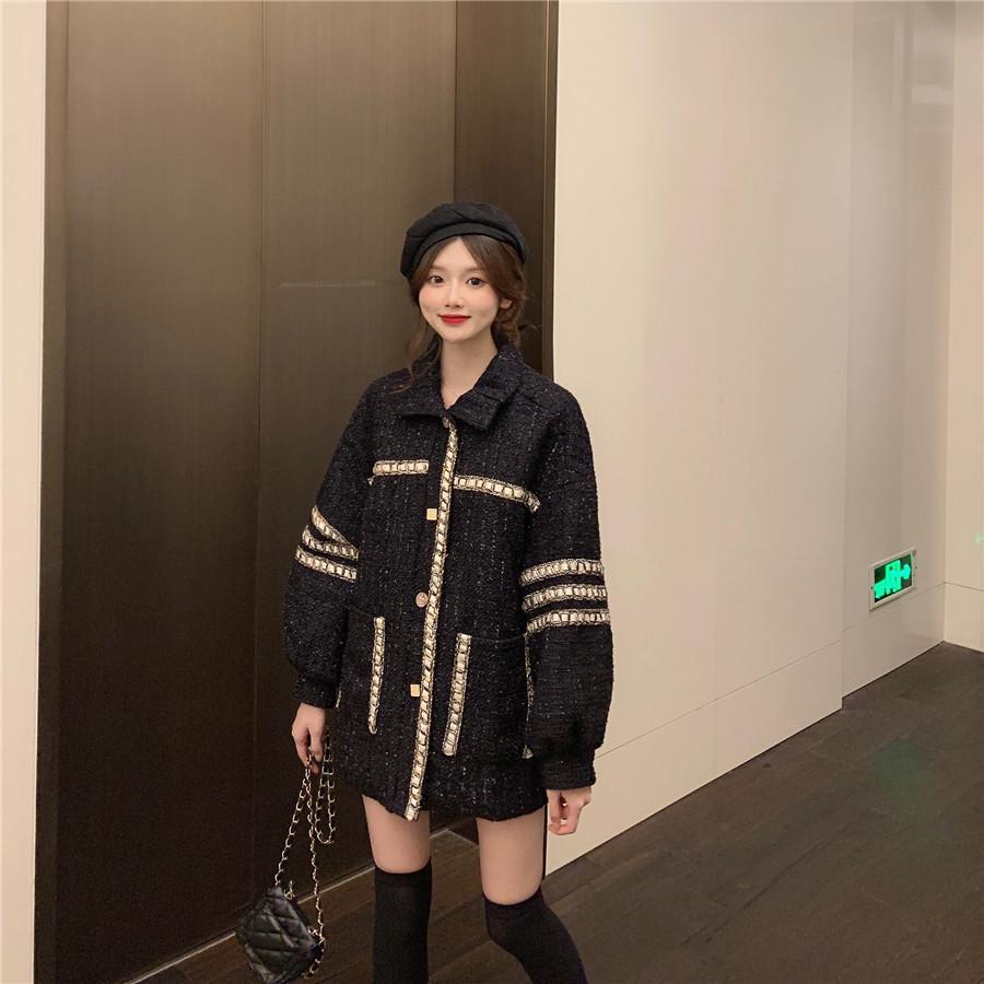 实拍实价 控5 2019秋季新款小香风黑色韩版宽松洋气百搭上衣