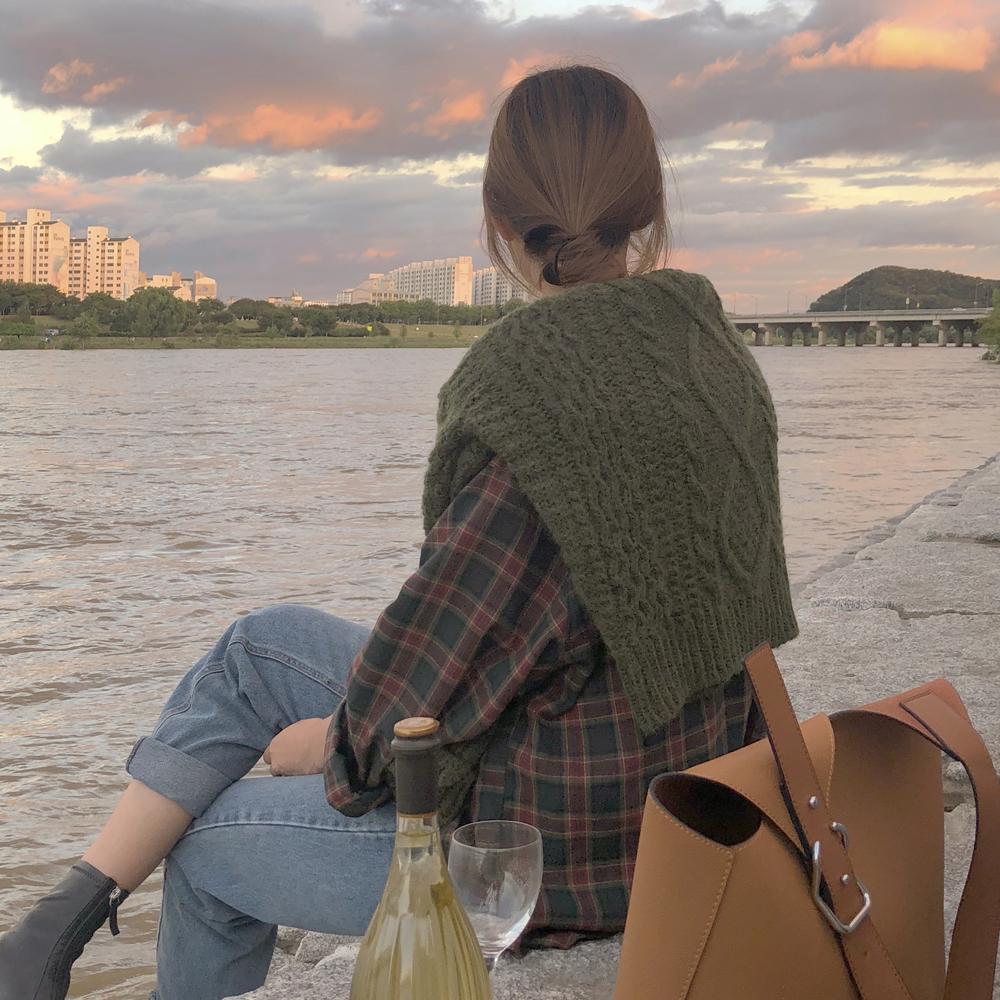 韩国ins 复古学院风宽松格纹磨毛长袖衬衫 现货