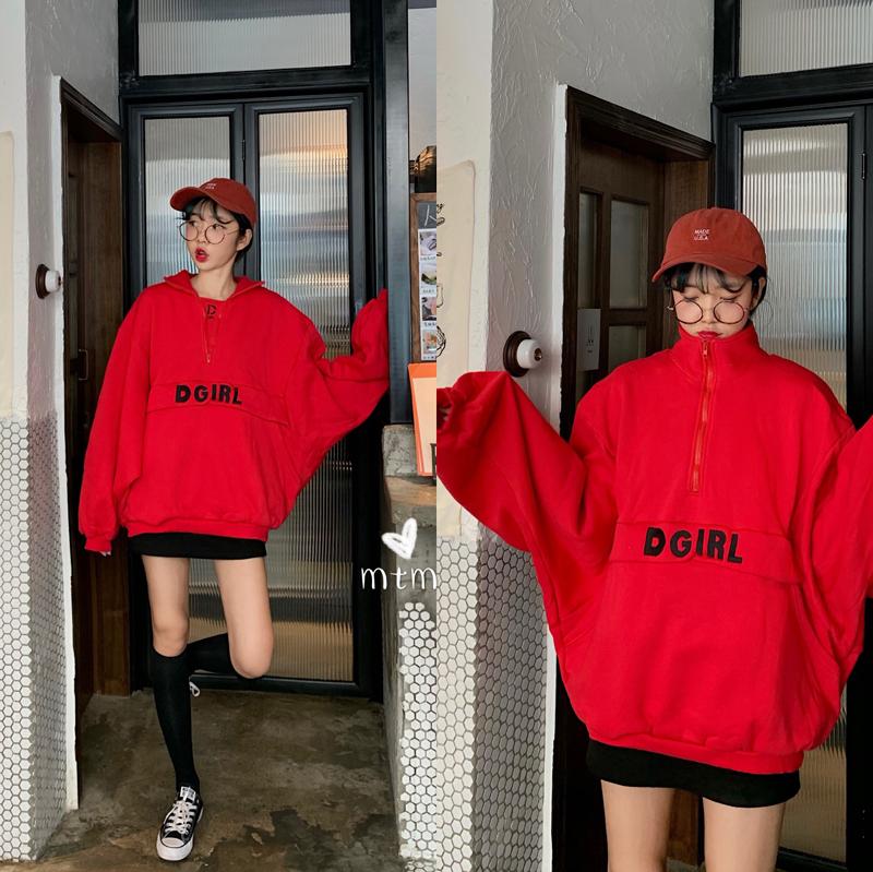 亚博娱乐平台入口~韩国冬季中长款拉链立领泡泡袖蝙蝠型宽松加绒加厚卫衣~现货