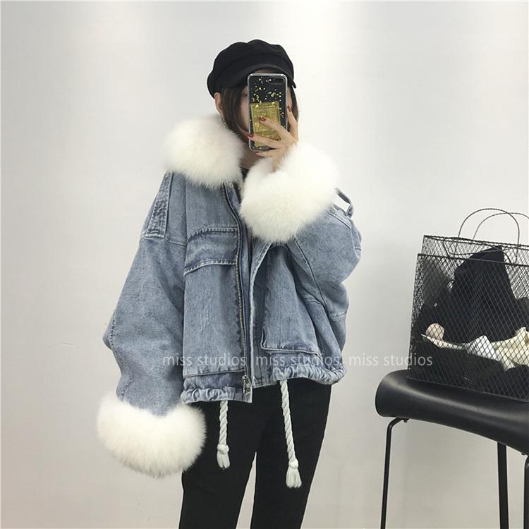 2019新款狐貍毛領牛仔派克服獺兔毛內膽可脫卸皮草外套女短款大衣