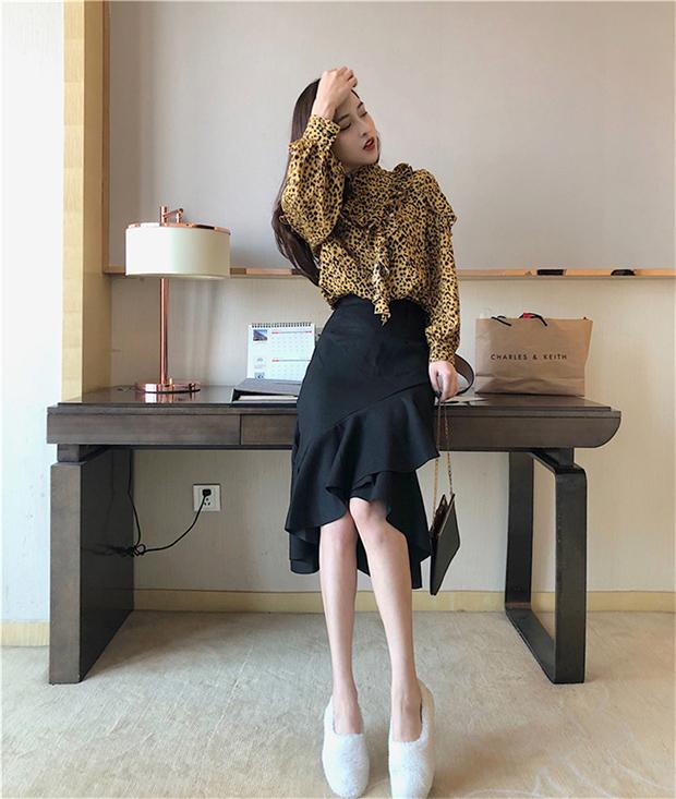 實拍實價港風豹紋荷葉邊襯衫女修身高腰chic百搭氣質女神范魚尾裙