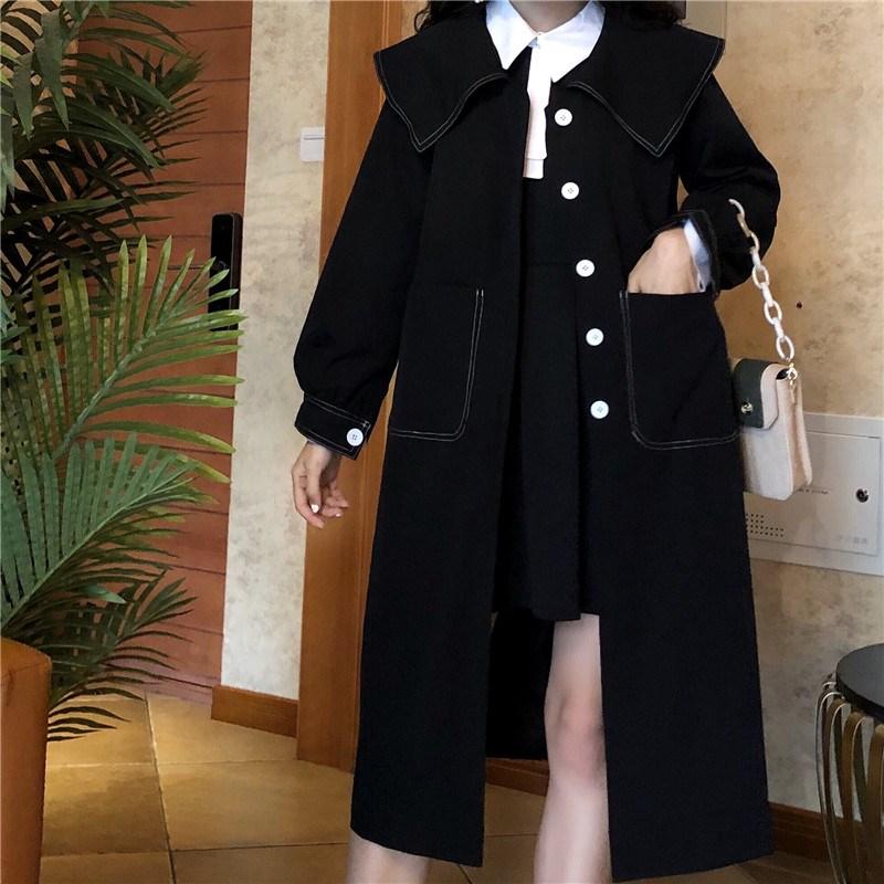 实拍?#23548;?控价5 娃娃领连衣裙+黑色风衣外套中长款大衣