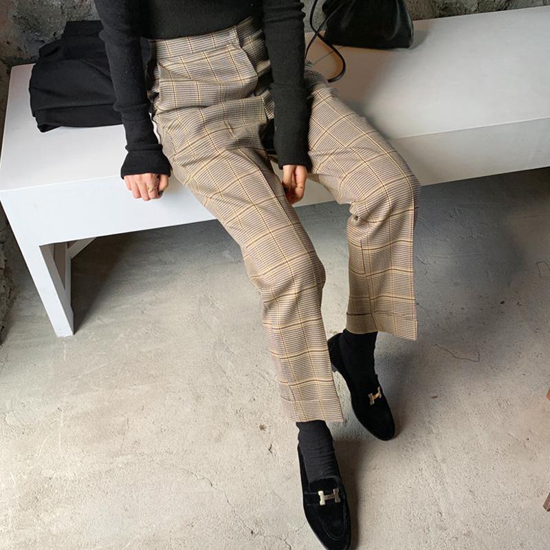 韩国chic 秋季 复古高腰 格纹西装裤宽松卷边直筒阔腿休闲裤 现货