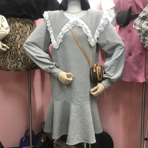 韓版娃娃領蕾絲荷葉邊長袖衛衣連衣裙2019新款洋氣仙女裙子