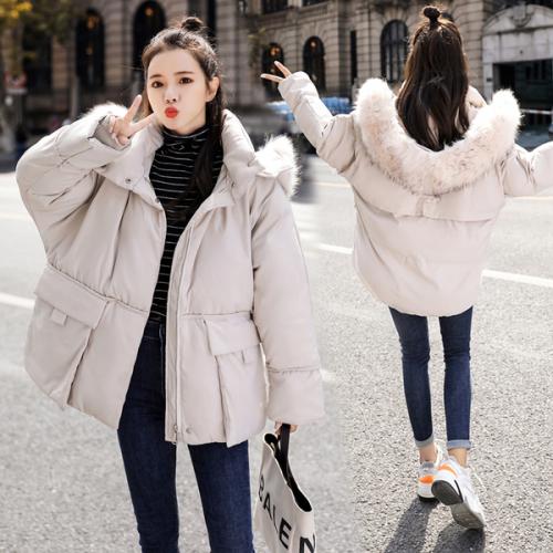 实拍2019年新款韩版宽松大毛领冬羽绒棉服女学生短款棉袄棉衣外套