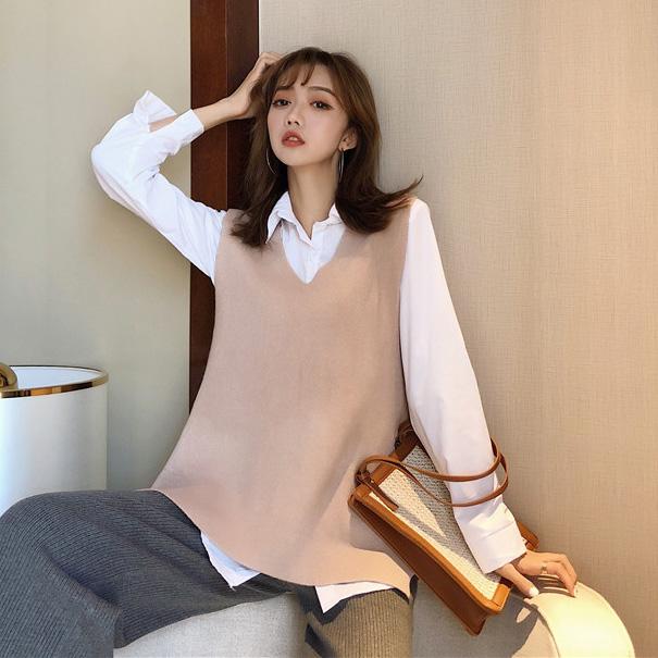 實拍實價#chic早秋新款純色襯衫+超火無袖背心馬甲+針織闊腿褲
