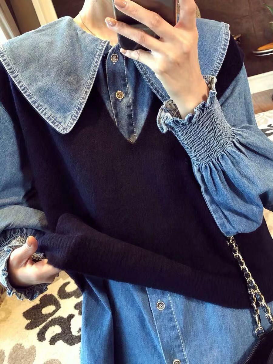 2019秋新款韩版娃娃领灯笼袖牛仔衬衣+V领百搭无袖针织背心套装女