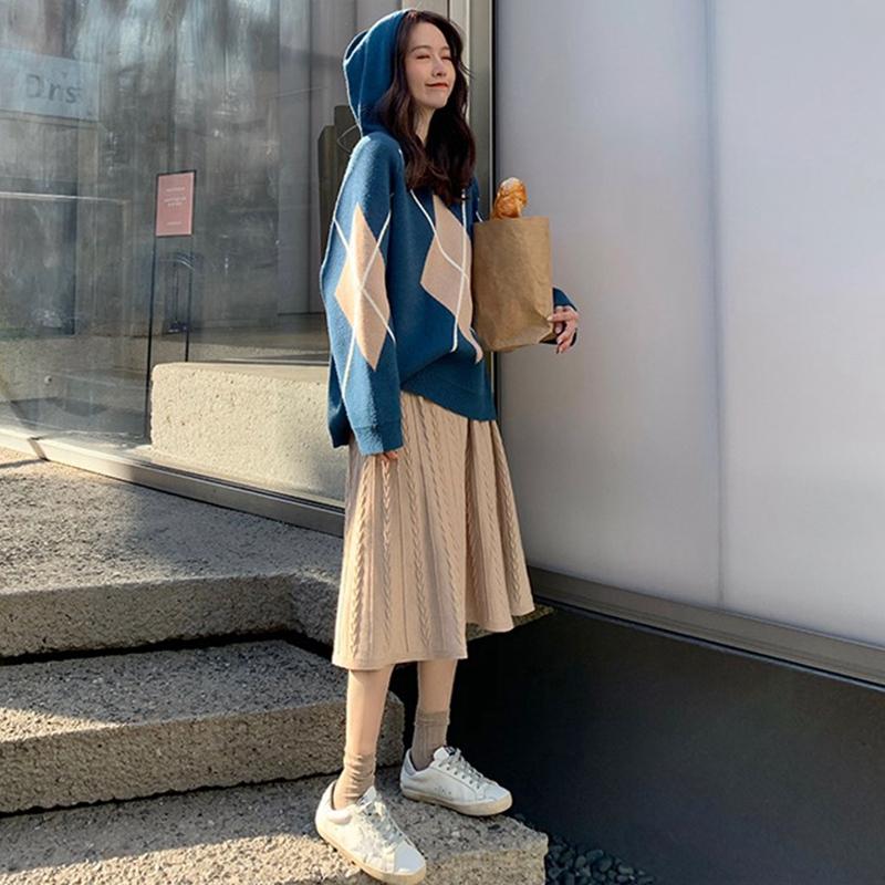 2019秋冬新款韩版加厚洋气时尚套装女显瘦小清新学生连衣裙两件套