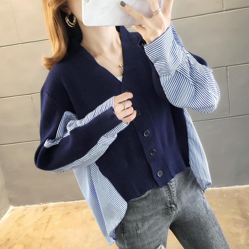 2907#實拍2019韓版新款學院風套頭毛衣少女襯衫領假兩件套秋冬裝
