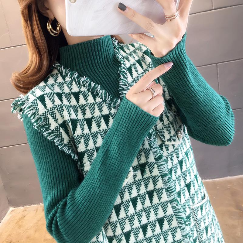2919#實拍小香風馬甲套裝裙女2019年新款秋冬時髦顯高毛衣兩件套