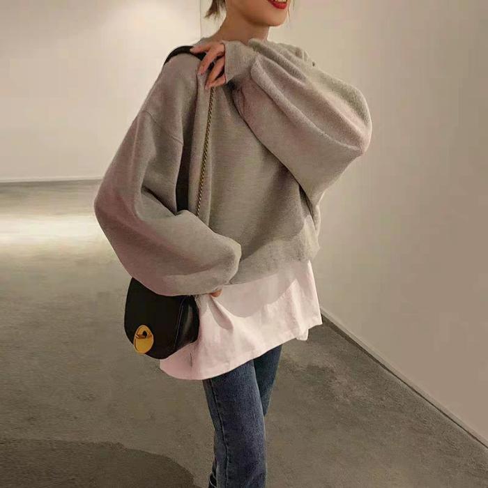 韩版学生宽松假两件长袖薄款泫雅外套上衣190克鱼鳞官图
