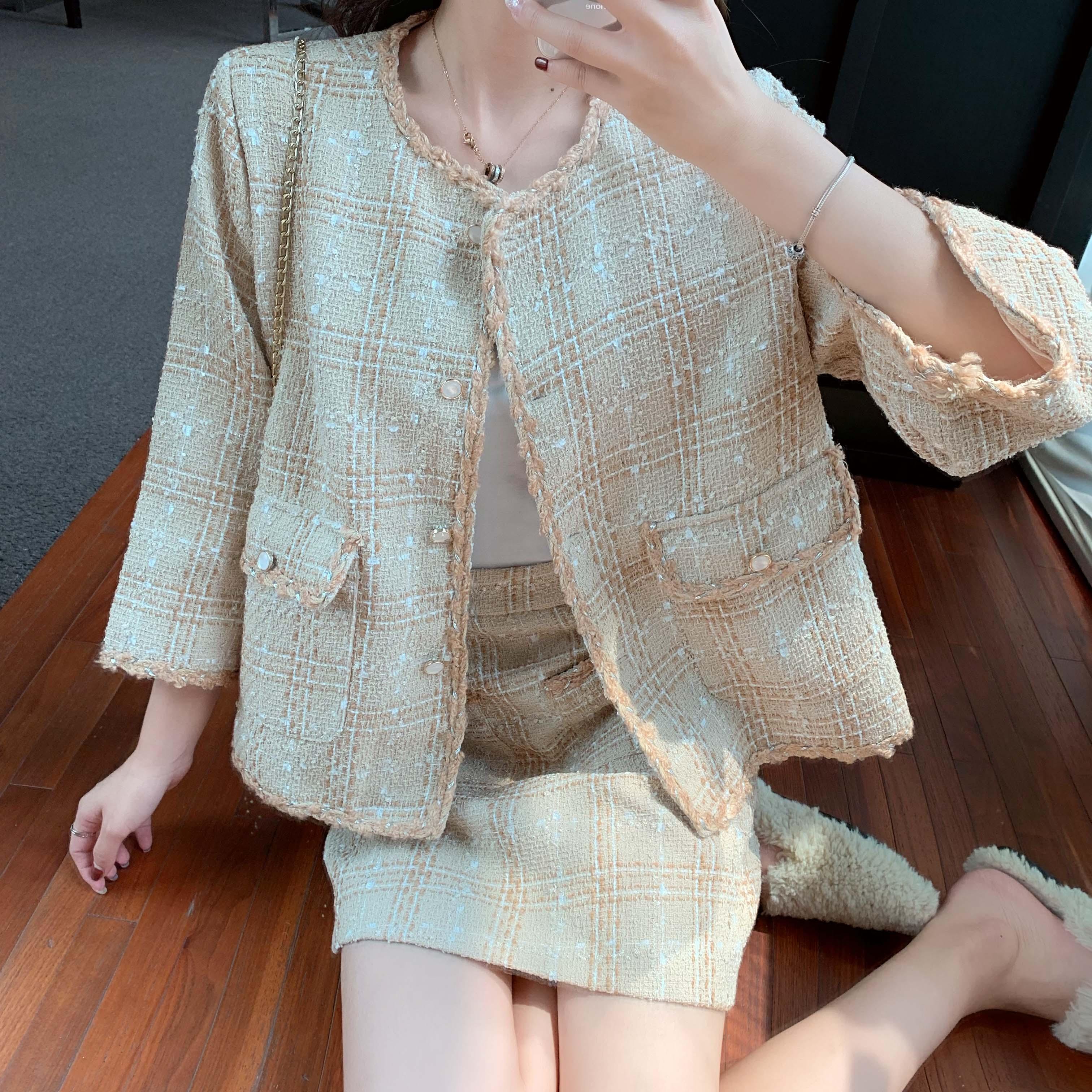 實拍實價新款慵懶風兩件套粗花呢A字半身裙+毛邊小香風外套女套裝