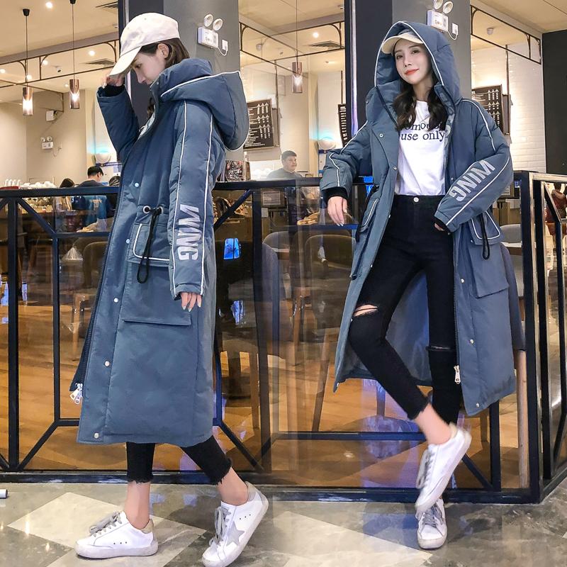 實拍羽絨棉服女長款冬季2019年新款韓版寬松過膝棉衣外套加厚棉襖