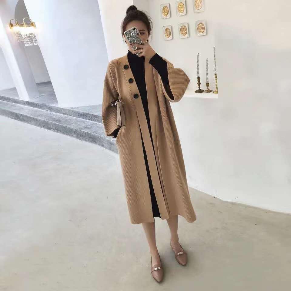 2018冬装新款韩版气质慵懒百搭宽松显瘦加厚开衫毛衣外套女中长款