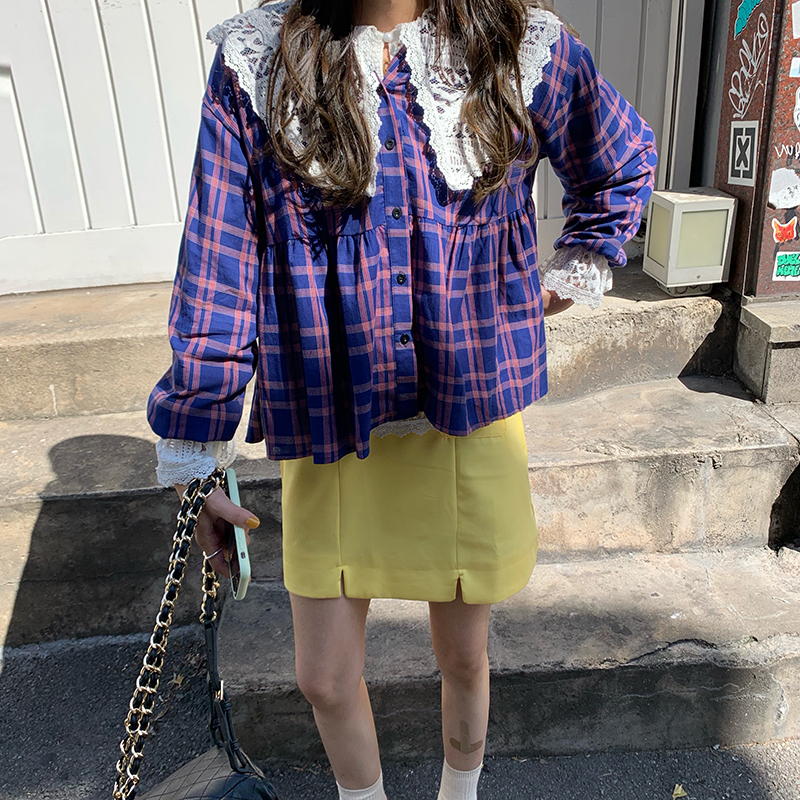 实拍实价 韩国秋日里的明媚少女格子娃娃衫+高腰短裙三件套装女
