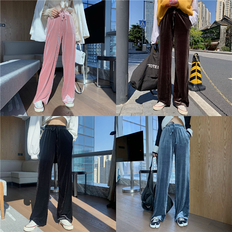 實拍實價 絲絨闊腿褲女高腰垂直感直筒運動褲顯瘦百搭4色休閑褲子