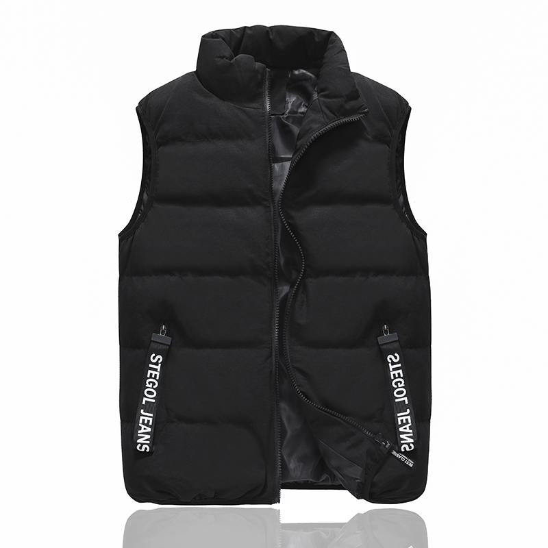 19年秋冬季新款无袖立领黑色加厚马甲男生休闲面包拉链保暖时尚潮