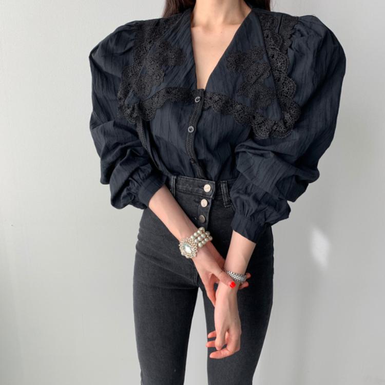 官网图 ~ins新款设计感小众复古法式泡泡长袖衬衫蕾丝边领衬衫