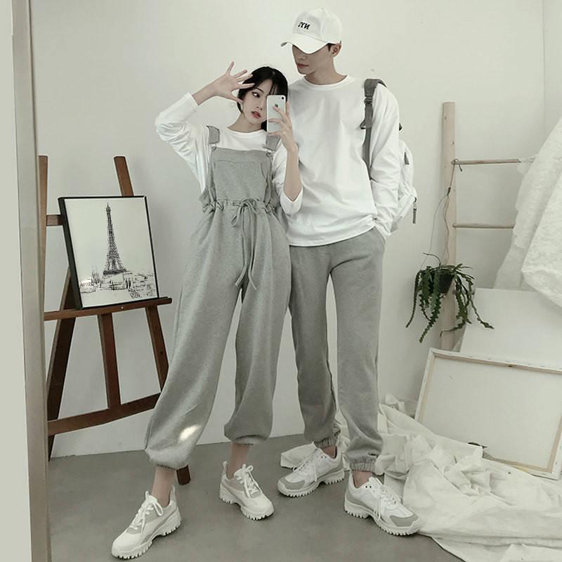 情侣装秋装2019新款ins小众设计感女背带裤不一样的卫衣套装