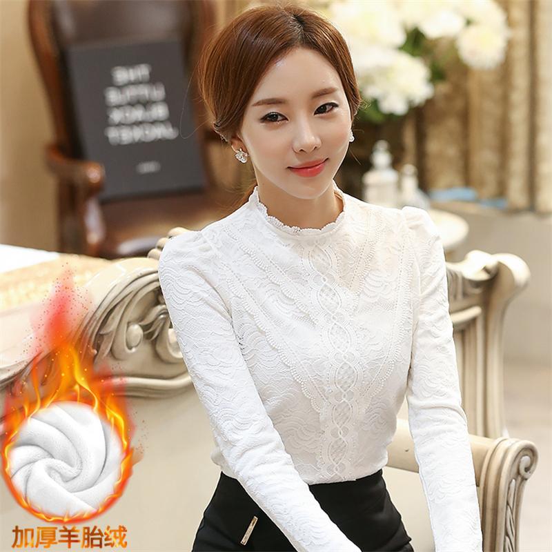 實拍新款女裝韓版修身打底衫女上衣長袖立領加絨加厚蕾絲衫女