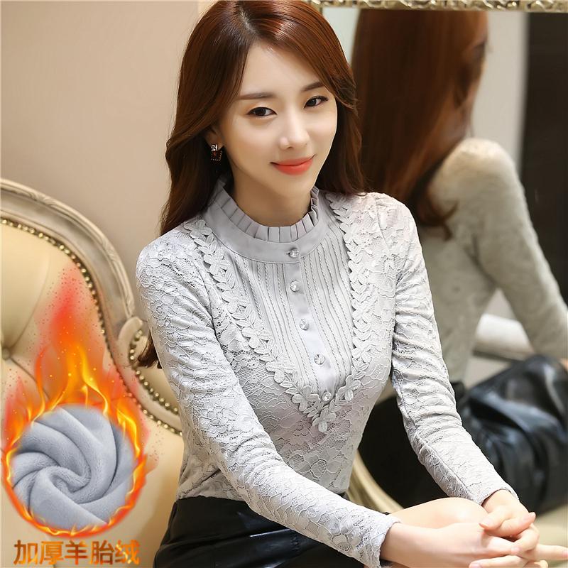 加厚加絨蕾絲打底衫秋冬裝高領長袖韓版女百搭保暖修身上衣服