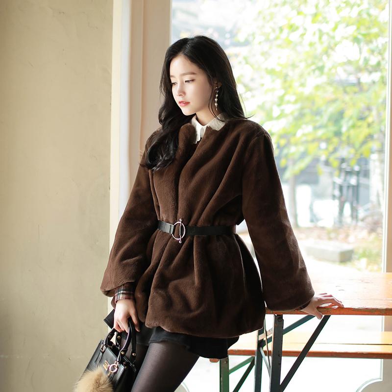 2019冬季新款韓版中長款仿皮草獺兔毛外套女寬松喇叭袖 配腰帶
