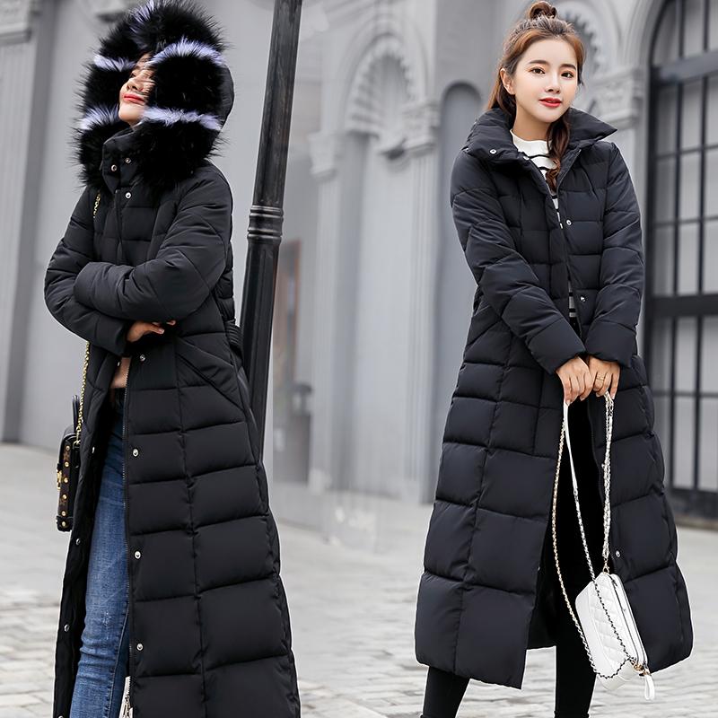 棉衣女中長款2019韓版過膝長款修身羽絨棉服大碼寬松冬裝棉襖外套