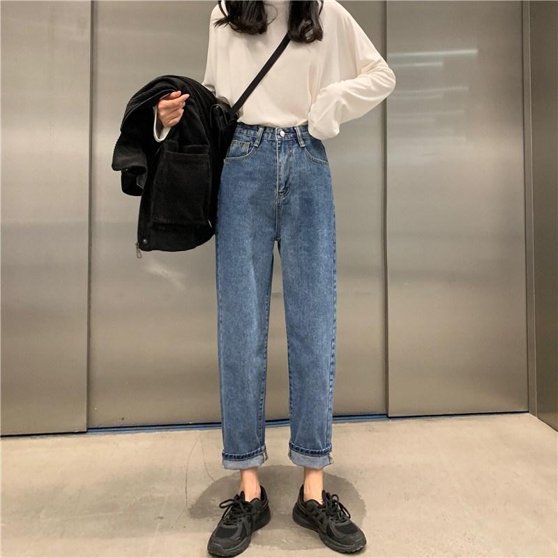 實拍實價 控價5 復古百搭寬松顯瘦直筒牛仔褲
