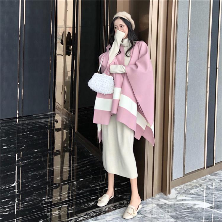實拍實價#2019新款chic復古拼接斗篷毛呢外套+高領系帶針織長裙