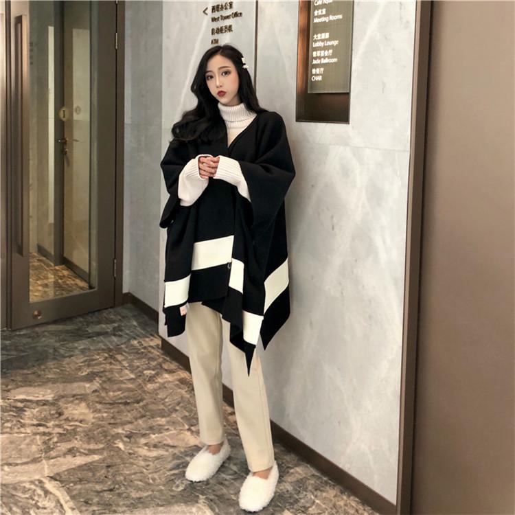 實拍實價-2019新款chic復古拼接斗篷毛呢外套+高領系帶針織長裙