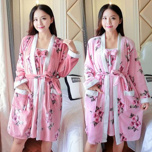 桃花法蘭絨兩件套睡袍女冬季兩色甜美公主浴袍性感吊帶家居服