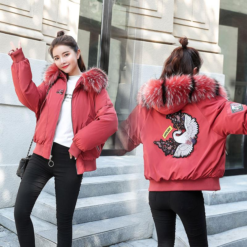 2019冬季新款韩版宽松加厚学生面包服小个子棉衣女短款大毛领棉袄