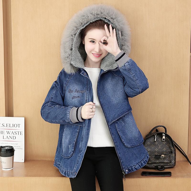 冬季加绒牛仔外套女冬装2019年新款女装韩版中长款韩版秋冬棉衣潮