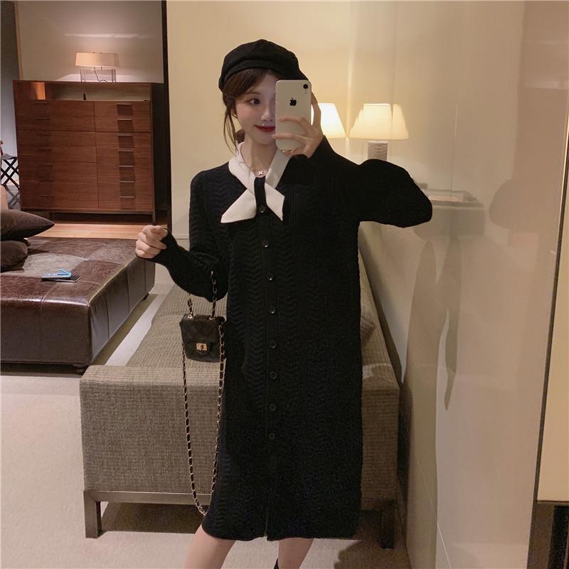 實拍實價 控5 法式氣質小香風領結黑色毛衣裙長款針織連衣裙