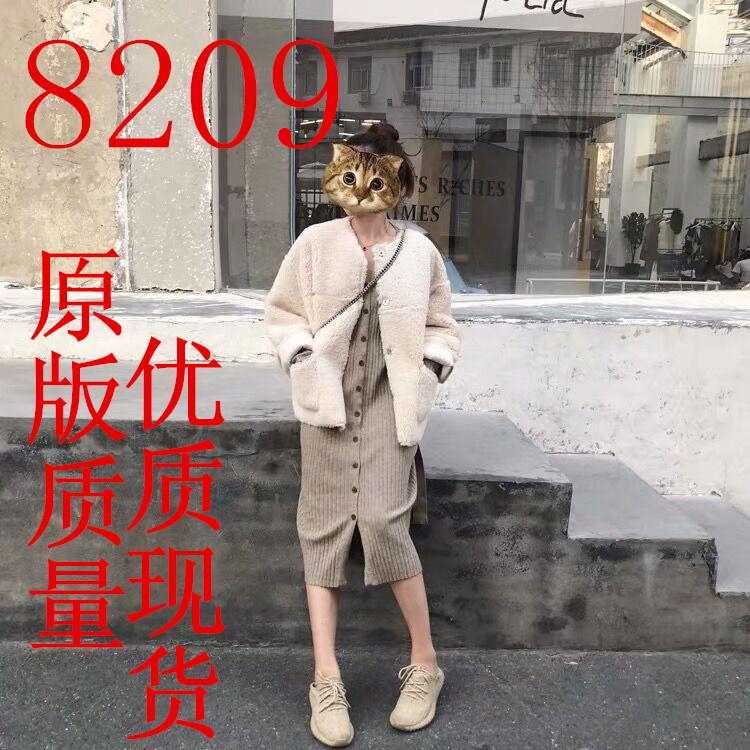 YUYEE_针织连衣裙女秋冬2019流行中长款过膝V领收腰开衫针织裙子