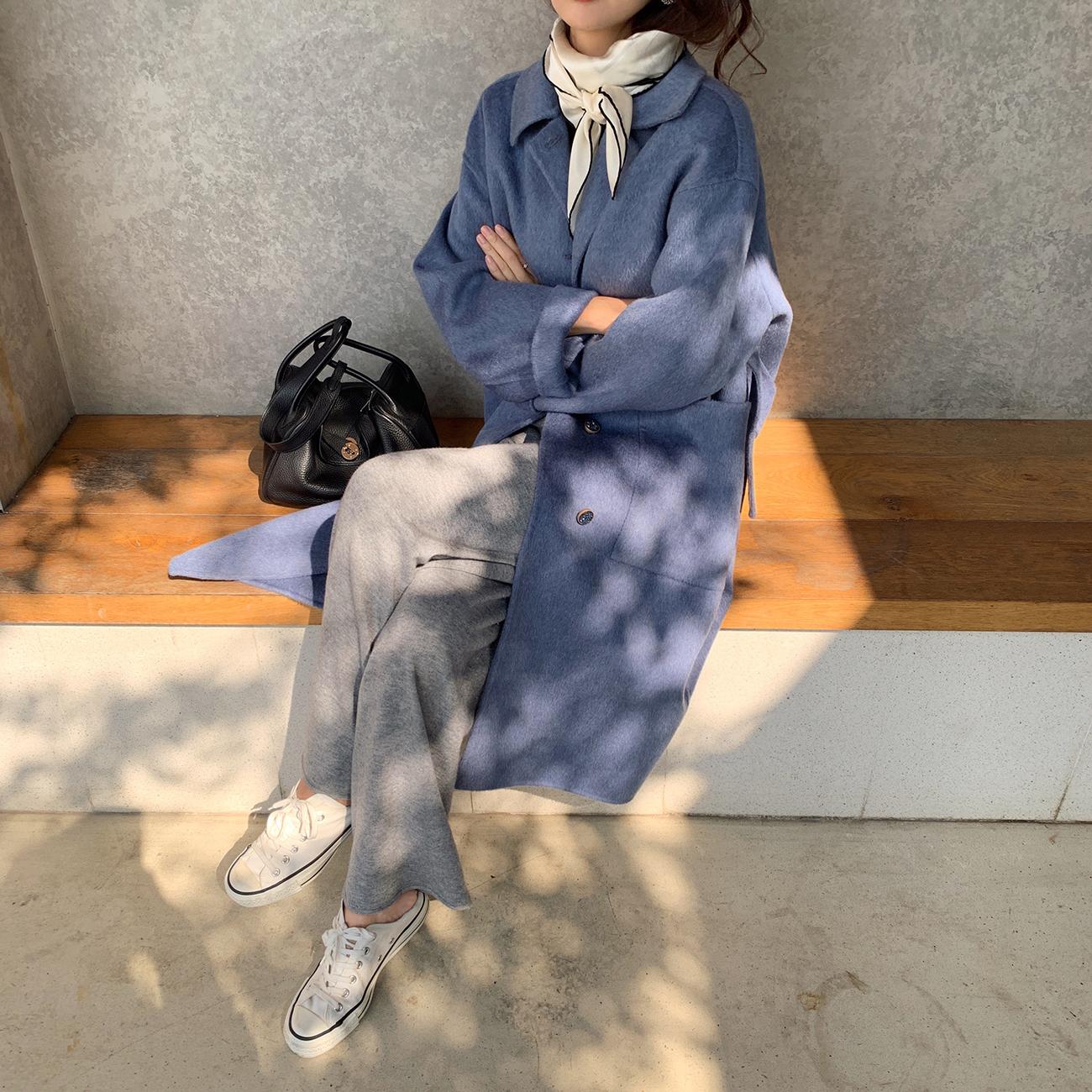 ASM ANNA◆简约的艺术~气质通勤双面羊毛呢外套 中长款毛呢大衣女