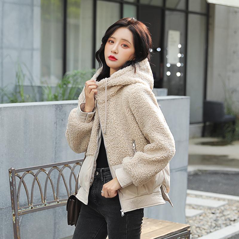 羽絨棉服女2019新款冬季羊羔毛小外套韓版網紅棉襖中學生短款棉衣