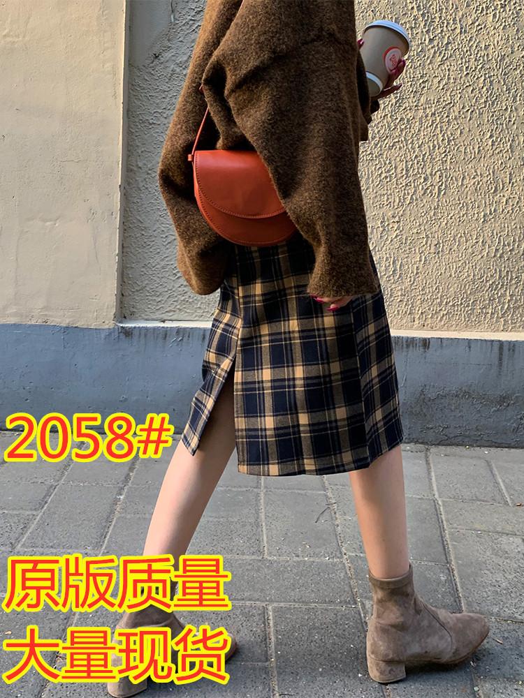 A7seven格子半身裙女復古秋冬季中長款高腰開叉包臀一步裙A字裙子