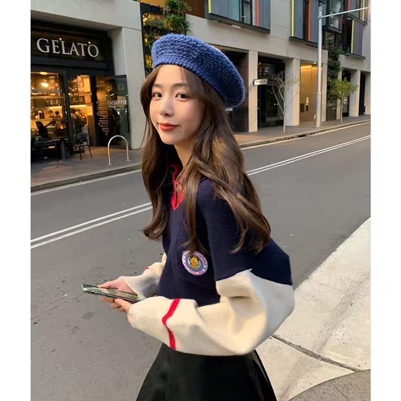林珊珊 10/16 10:00AM 加菲貓系列 韓系學院風撞色polo針織衫