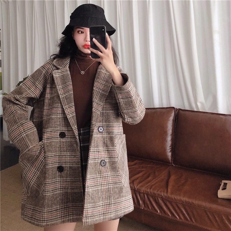 實拍實價 控價5 韓版寬松格子小個子西裝呢子加棉加厚大衣外套