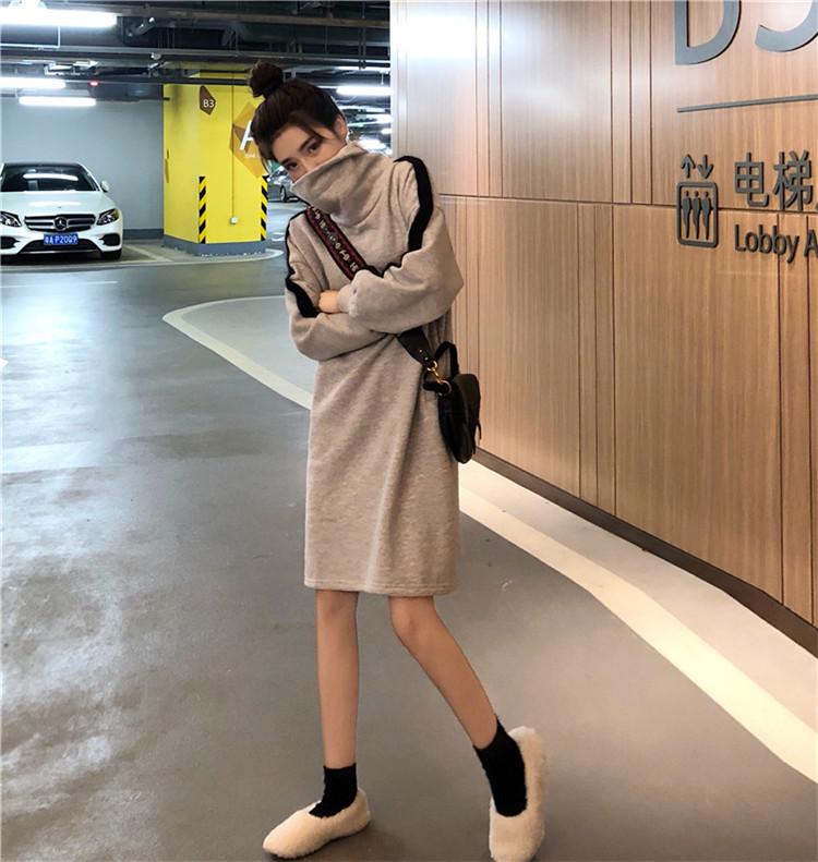 實拍實價#2019新款時尚寬松港味拼色過膝加絨衛衣裙