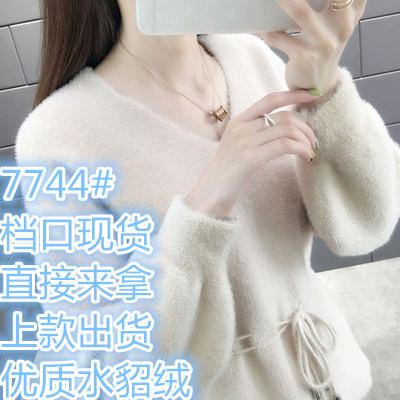 秋冬新款水貂绒v领毛衣2019很仙的上衣韩版网红短款针织衫外套
