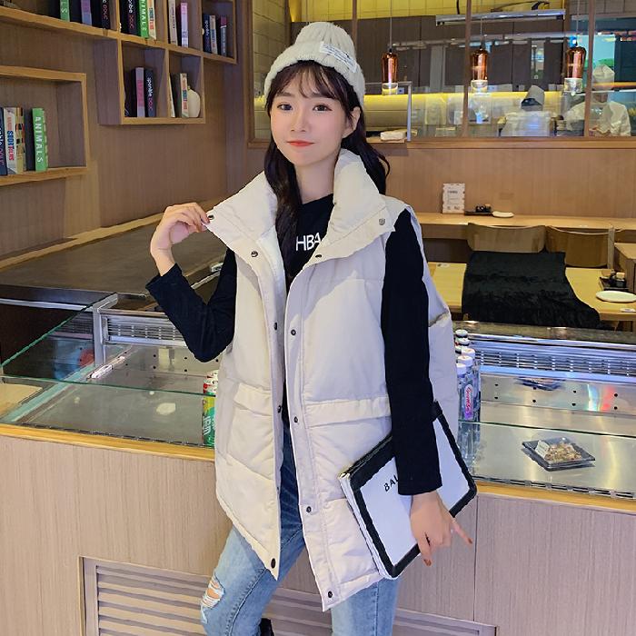 實拍2019新款羽絨棉服女韓版學生寬松馬甲面包服無袖背心馬夾外套