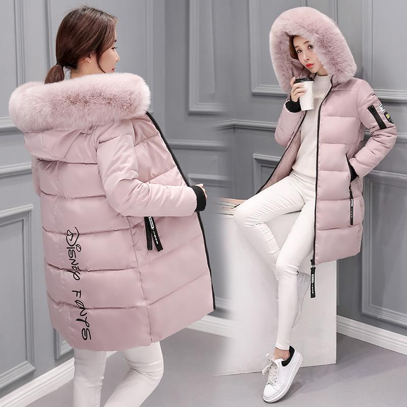 實拍秋冬新款羽絨服女中長加厚韓版修身毛領連帽拉鏈貼花棉衣