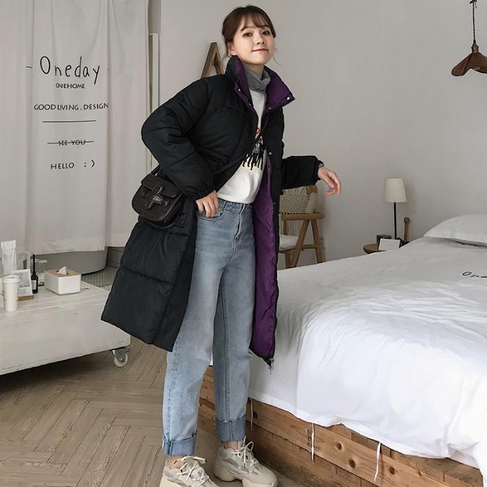 實拍2019冬季新款羽絨服韓版中長款過膝寬松大碼外套棉服女面包服