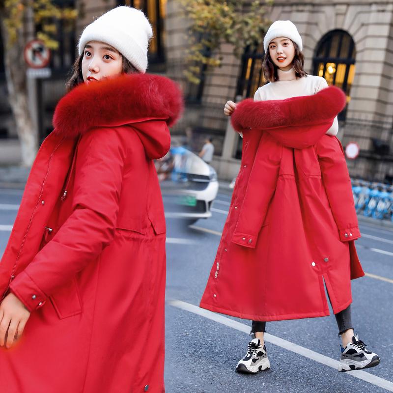 2019新款女裝韓版顯瘦修身加絨棉服派克服大毛領中長款bf棉衣外套