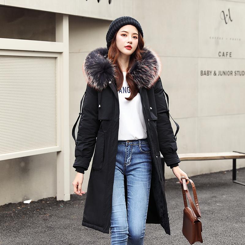 實拍棉衣女冬裝新款韓版中長款帶毛領加厚修身羽絨棉服女棉襖外套