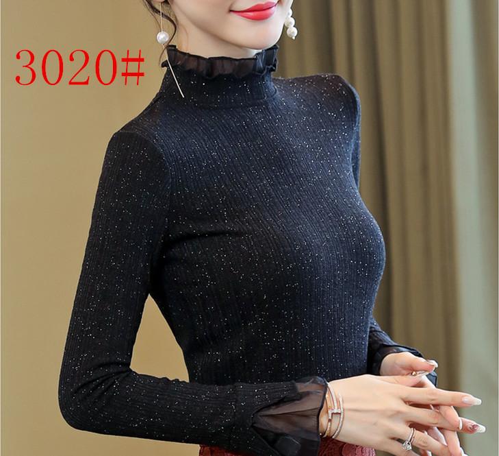 秋季长袖女上衣春秋蕾丝打底衫2019新款黑色气质短款秋装洋气女装