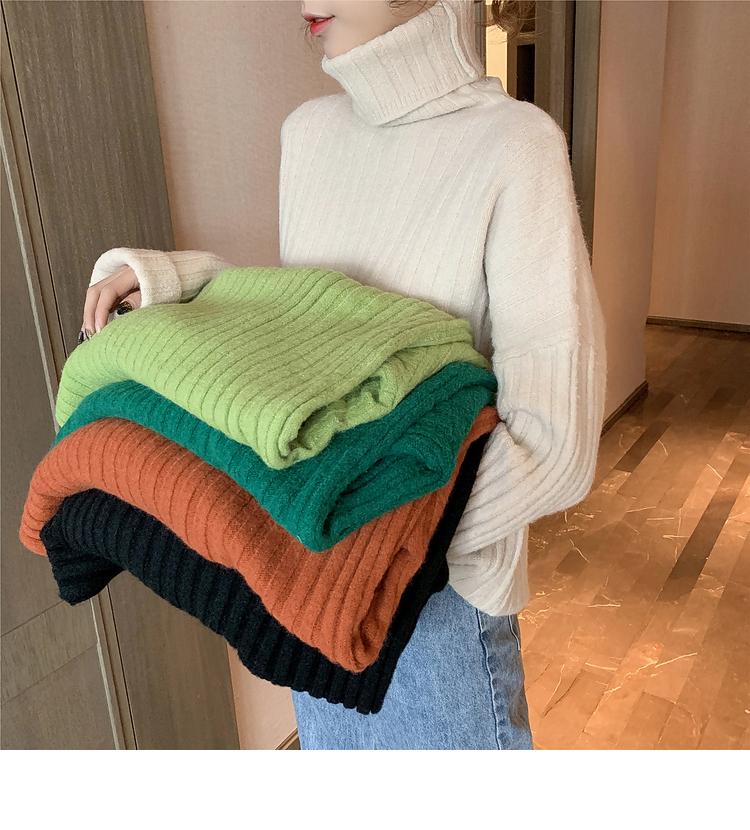 10.14新品 0点上新秋季新款高领短款针织长袖套头毛衣