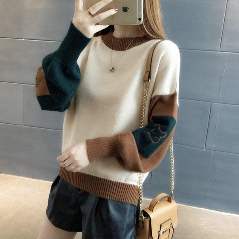 2019年新款冬裝女士毛衣女裝秋冬裝寬松外穿內搭打底針織衫潮洋氣